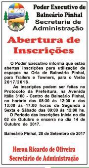 ABERTAS AS INCRIÇÕES  - ESPAÇOS NA ORLA DE BALNEÁRIO PINHAL