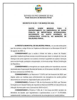 Decreto nº5 - CORONAVÍRUS